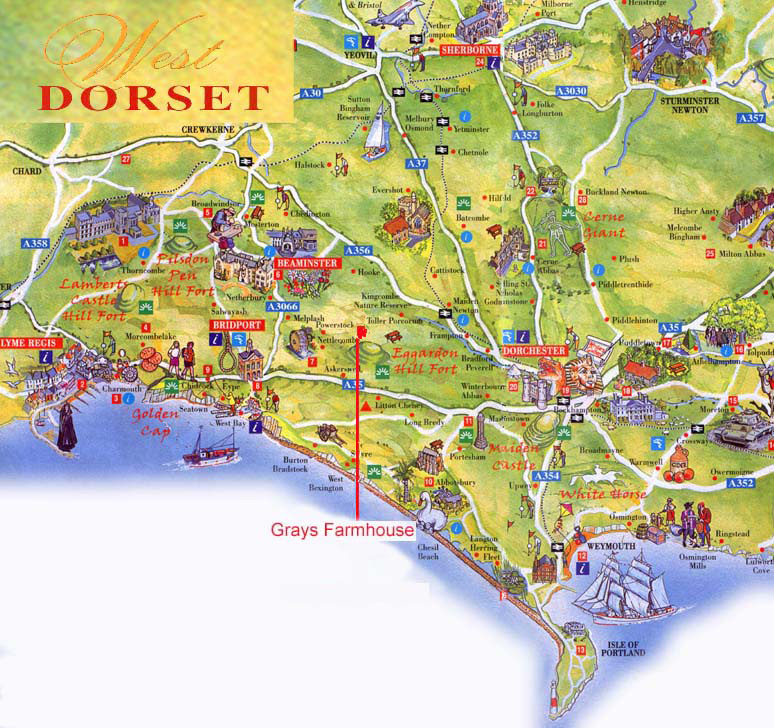 West Dorset Map, Dorchester, Weymouth, Lyme Regis, Sherborne on